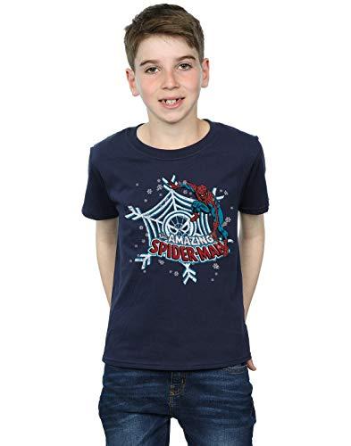 Marvel Niños Spider-Man Christmas Camiseta Azul Marino 3-4 Y