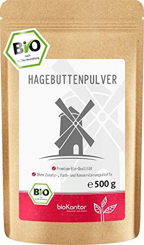 Bio Hagebuttenpulver (500g) in Rohkostqualität von bioKontor | ganze Hagebutten vermahlen | BIO - ohne Zusätze