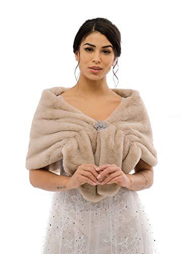 Aukmla - Chal - para mujer Talla única Chal de Pelo con broche Estola Mujer para Invierno Fiesta Novia Bodas Para dama de honor