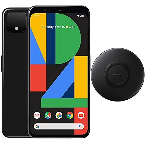 """Google Pixel 4 (64GB, 4GB) 5.7"""", IP68 Water Resistant, Snapdragon 855, GSM/CDMA Factory Unlocked (AT&T/T-Mobile/Verizon/Straight Talk) w/Fast Qi Wireless Pad (Just Black) (Renewed)"""