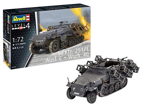 Revell 03324 Sd.Kfz. 251/1 AUSF. C + Wurfr. 4, Panzermodell Stuka zu Fuß 1:72, 8,1cm originalgetreuer Modellbausatz für Fortgeschrittene, unlackiert