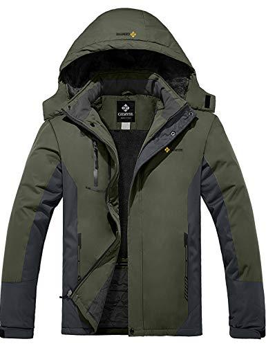 GEMYSE Men's Mountain Waterproof Ski Snow Jacket Winter Windproof Rain Jacket (Army Green, M)