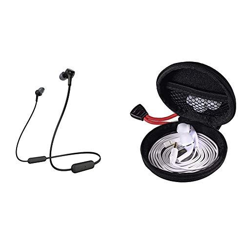 Sony WI-XB400B kabellose In-Ohr Kopfhörer schwarz & Hama Kopfhörer Tasche für In Ear Headset (Robustes Hardcase zur In Ears Aufbewahrung, passend für Apple, Sony, JBL, Bose, Sennheiser) schwarz