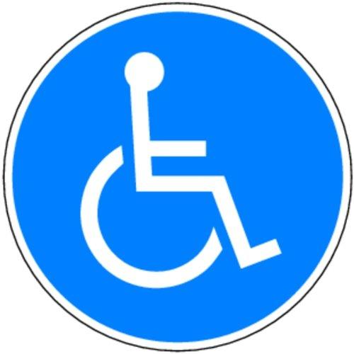 LEMAX® Aufkleber Rollstuhlfahrer Folie selbstklebend 100 mm Ø (Rollstuhl, Gebotsschild) praxisbewährt, wetterfest