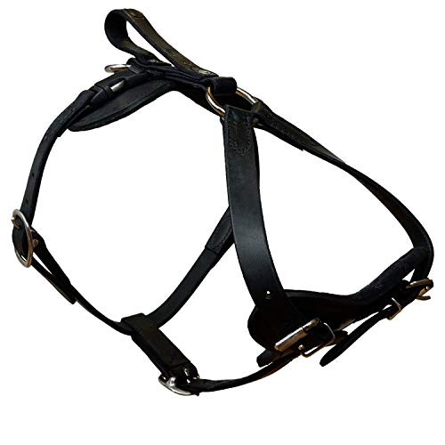 Redline K9 Padded Leather Quick Release Dog Protection and Tracking Harness (Large)