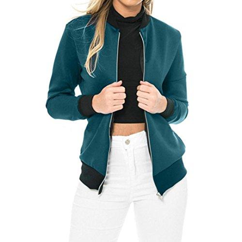 Toamen Manteau Femmes Manteau à manches longues Couleur unie Sweat-shirt Outwear Cardigan Haut Veste pardessus Top Mode Automne et hiver (S,Bleu)