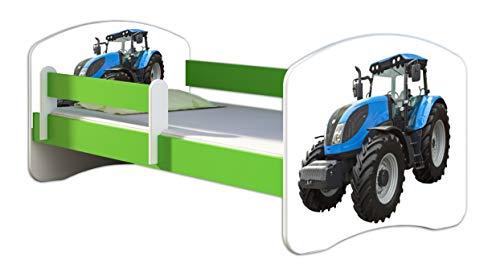 ACMA Kinderbett Jugendbett mit Einer Schublade und Matratze Grün mit Rausfallschutz Lattenrost II 140x70 160x80 180x80 (42 Traktor, 180x80)