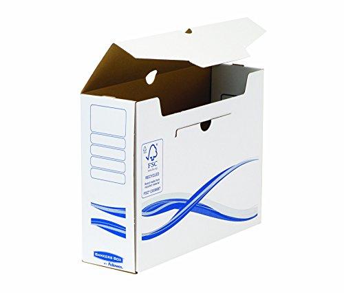 Bankers Box A4/A4+ Archivschachtel 10cm Rückenbreite, aus recyceltem Karton, 100% recycelbar, Farbe: weiß/blau, 10 Stück
