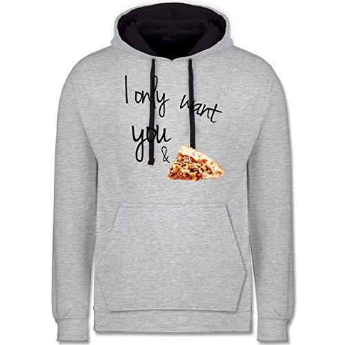 Statement - I only Want You and Pizza - XXL - Grau meliert/Navy Blau - Motto - JH003 - Hoodie zweifarbig und Kapuzenpullover für Herren und Damen