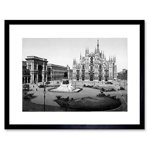 PIAZZA OF THE CATHEDRAL MILAN ITALY OLD BW BLACK FRAMED ART PRINT B12X560