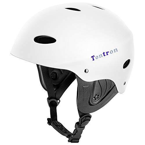 Tontron Adult Whitewater Kayaking Canoeing Watersports Helmet (Matte WhitePearl, Medium)