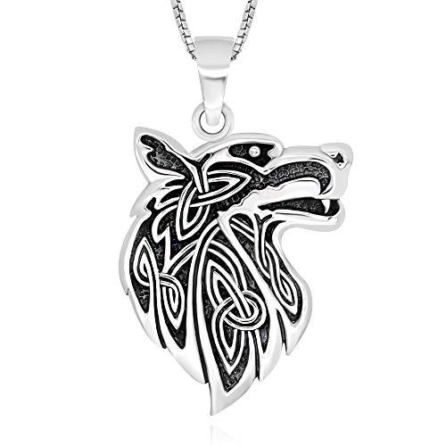 925 Sterling Silver Celtic Wisdom Wolf Head Pendant Necklace, 18'