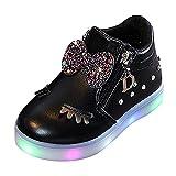 Zapatillas infantiles con luz LED, 20 unidades, para niña, con cremallera, antideslizantes, para el tiempo libre, Negro , 24