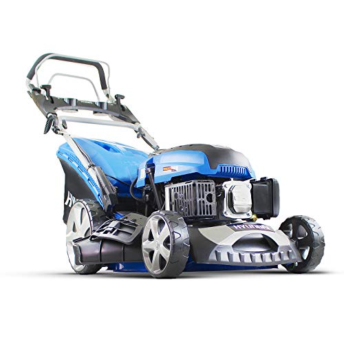"Hyundai HYM460SPE Petrol Self Propelled Lawnmower Electric Push Button Start 18"" 46cm 460mm Cut 139cc 3.5hp Euro 2 Lawn Mower HYM460SPE-Includes 600ml Engine Oil, Blue"