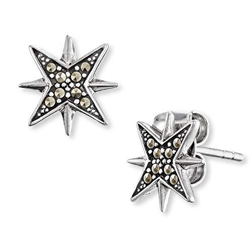 Engelsrufer - Stern Ohrstecker für Damen mit Markasit Steinen, funkelnde Ohrringe aus rhodiniertem 925 Sterlingsilber mit Sterne, Damenohrringe aus Silber mit Steckverschluss