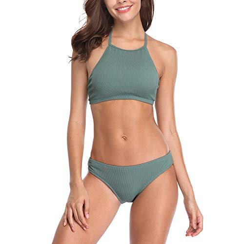 LCSD Traje de baño de mujer con cuello alto y dos piezas bikini sexy con cordones para mujer (color: verde, tamaño: XL)