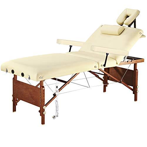 Elektrischer Massagetisch Spa-Behandlungstisch Tragbarer Massagetisch Klappbarer Salon SPA-Bett Mit Verstellbarem Therma-Top-Heizsystem, 70 Cm