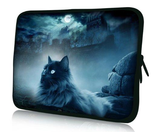 Luxburg® Design Funda Blanda para Ordenador portátil (15,6Pulgadas, Motivo: Gato y Roca