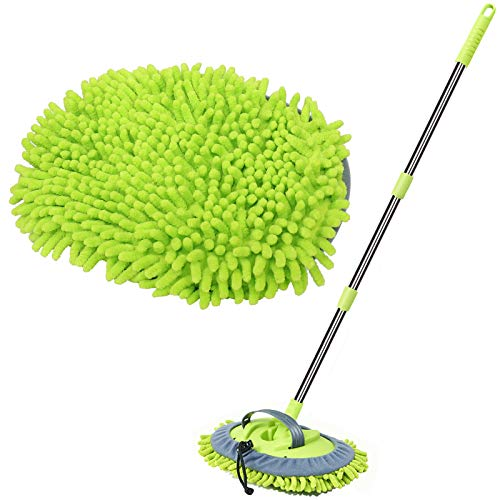 """WillingHeart 47.5"""" Car Wash Brush Mop Cleaning Tool with Long Handle Kit for Washing Detailing Cars Truck, SUV, RV, Trailer, Boat 2 in 1 Chenille Microfiber Sponge Duster Not Hurt Paint Scratch Free"""