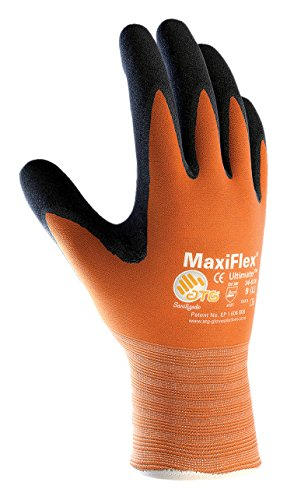MaxiFlex Ultimate 34-8014/XL Hi-Vis Seamless Knit Nylon Glove with Nitrile Coated Micro-Foam Grip on Palm and Fingers