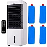 Mylek Air Cooler Fan 6L, No Assembly Required, Portable Mobile Cooling Purifier & Humidifier 75W 3 Speeds, 3 Modes, Remote, Oscillation, Night Light Off Option, 12H Timer , 4 Ice Packs (White)