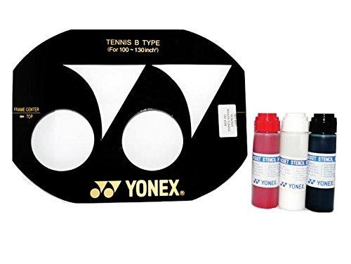 Yonex Esténcil de cuerda para raqueta de tenis (100–130pulgadas) y YonexTinta para esténcil, Yonex Red Stencil Ink