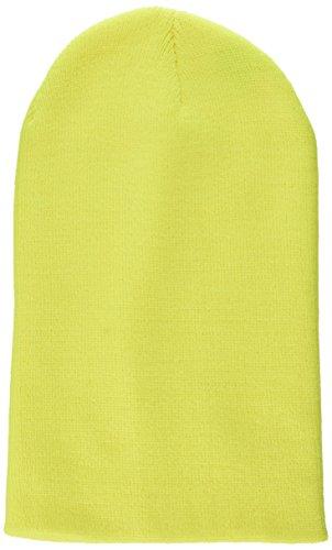 MSTRDS Bonnet Unisexe Basic Flap Version Longue. Taille Unique Jaune Fluo