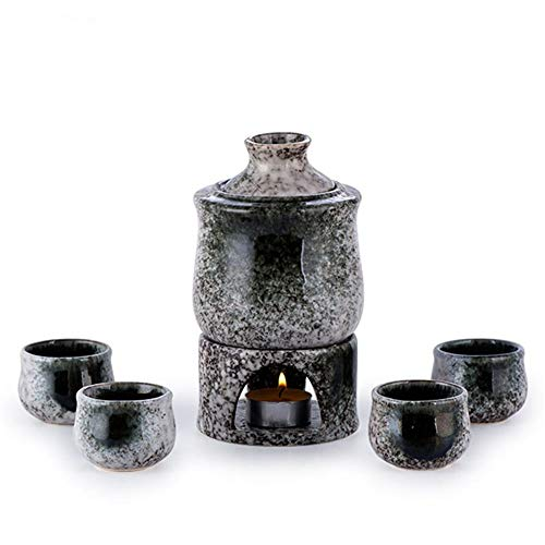 JIASHU Juego de Calentador de Sake de cerámica Retro japonés de 7 Piezas con 4 Tazas de Sake, 1 Botella de Sake, 1 Olla más Caliente, 1 Olla de Calentamiento, Aislamiento portátil