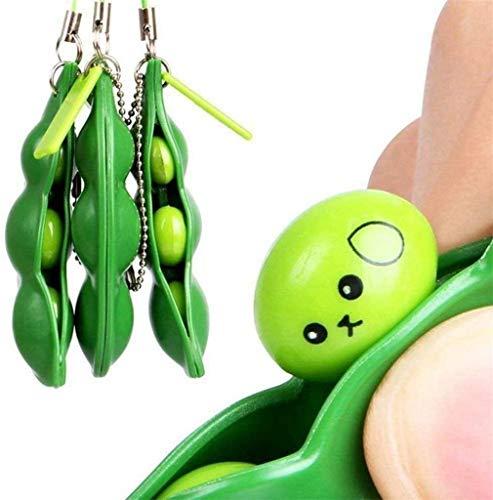 DREZEA. 3PCS Fidget Toys Keychain Fidget Bean Toy Keychain Funny Facial Expression Bean Release Stress Squeeze-a-Bean Keychain Keyring Extrusion Bean Pea Soybean Stress Relieving Chain Toys 3PACK
