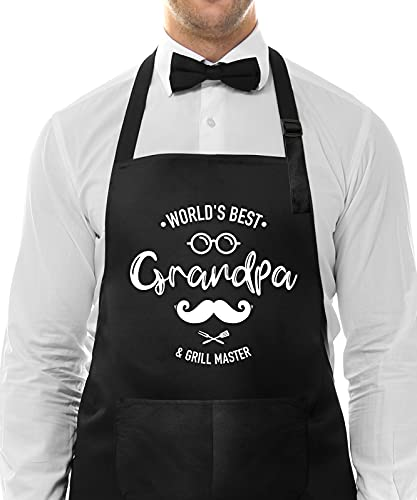 Funny Cooking Apron for Grandpa Dad-World's Best Grandpa -Birthday Father's Day Grilling Gifts for Grandad-Best Grandfather Apron-Adjustable Chef QQB Grill Apron with 2 Pockets Black