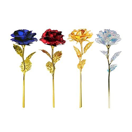 Rose Placcato 24K 4 pezzi Oro Galaxy Eterna Rose Stabilizzata Fiore Artificiale Rosa Regalo Fiore Romantico Una rosa che non appassirà Rosa dorata (oro / blu / rosso / colorato)
