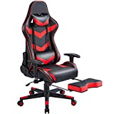 Yaheetech Gaming Stuhl Racing Stuhl Ergonomischer Drehstuhl Höhenverstellbarer Schreibtischstuhl PC Stuhl mit Fußstütze Hohe Rückenlehne mit einstellbaren Armlehnen 150 kg