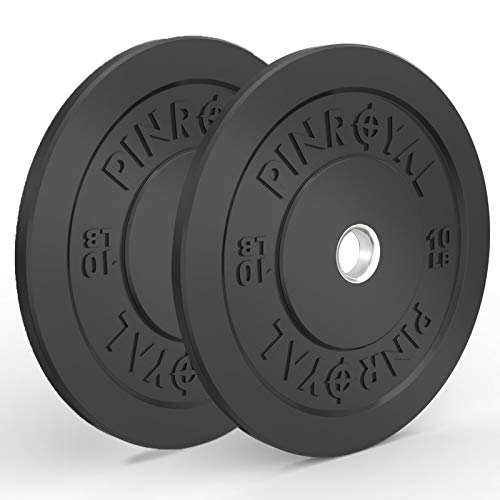PINROYAL Bumper Plates 10LB Set, Olympic Weight Plates with 2 inch Stainless Steel Hub, Rubber Barbell Weights to Protect Floor, Smooth Strength Training Plates to Protect Bar from Scratches, Pair
