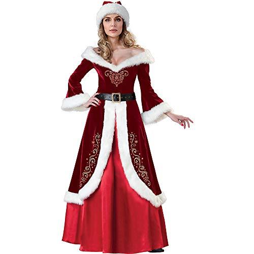 wenyujh Weihnachten Damen Kostüm Retro Kleid Lange Weihnachtsfrau Kostüm Santa Claus Nikolauskostüm Kleid mit Kapuze und Gürtel