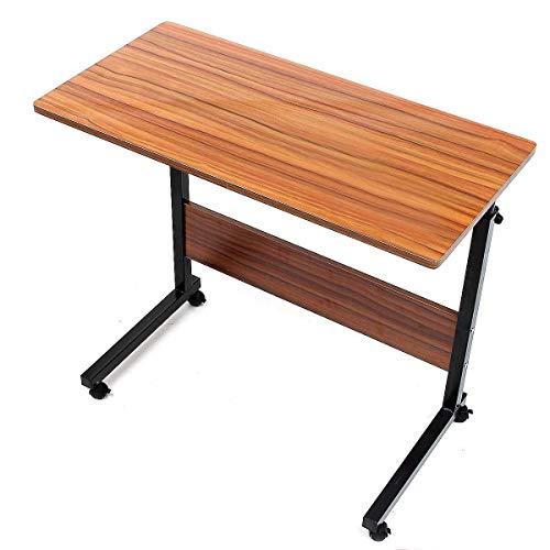 LYLSXY Mesas Auxiliares,Altura Ajustable, Ruedas Bloqueables,Mesita de Noche para el hogar,Utilizado en oficinas, escuelas (Color : Wood Grain)