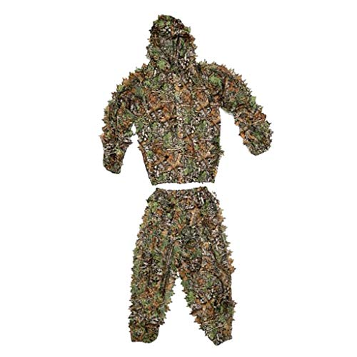 lahomia Mountain Ghillie Suit - Camo Hunting Suit - 3D Leafy Suit - Camouflage Hunting Suit Hooded Camo Jacket & Pants - Full Front Zipper - Breathable - Kids