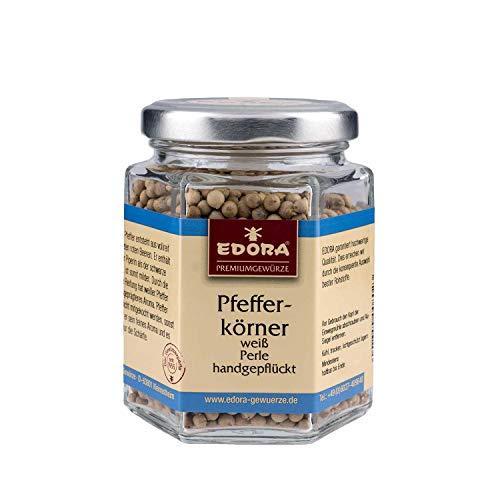 Premium Qualität Gewürz EDORA Schraubglas Pfefferkörner weiß handgepflückt MUNTOK-Perle handpicked Pfeffer 100 Gramm