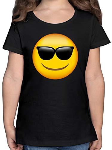 Anlässe Kinder - Emoticon Sonnenbrille - 140 (9/11 Jahre) - Schwarz - F131K_Shirt_Mädchen - F131K - Mädchen Kinder T-Shirt