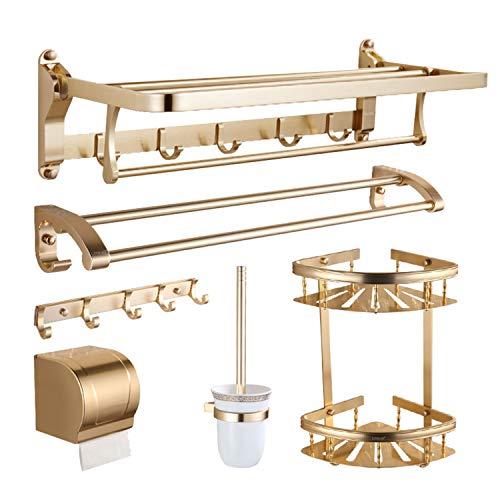 XCXDX Juego De Repisas Doradas para Baño, Estante De Aluminio para Montaje En Pared 6 En 1 para Ducha, Ahorro De Espacio Plegable, Toallero