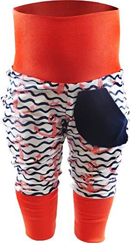 KLEINER FRATZ Baby Kinder Pumphose Hose Mädchen Babyhose Jungen Pants (56-68, Anker rosa/Welle Navy/Bund orange)
