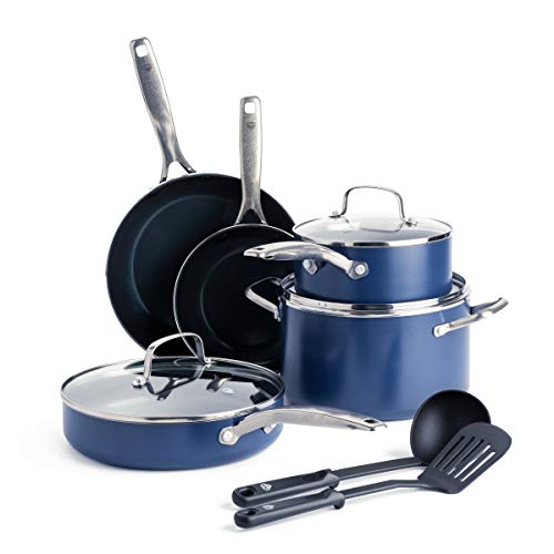 Blue Diamond Cookware Ceramic Nonstick Cookware Pots and Pans Set, 10 Piece