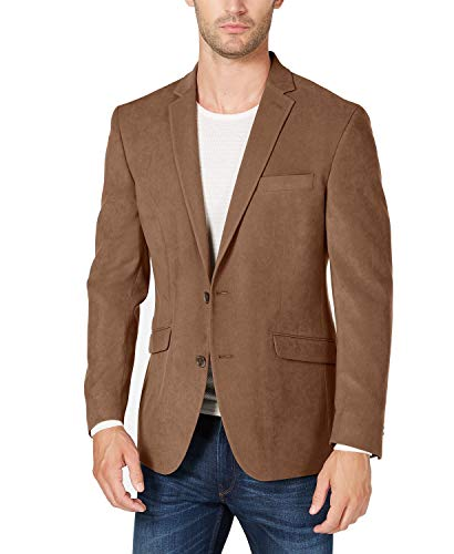 Kenneth Cole REACTION Mens Suede Slim Fit Blazer Brown 38S