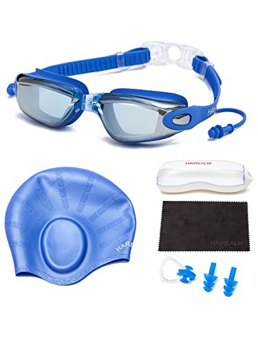 HAIREALM Myopia Swimming Goggles(Prescription 0-8.0 Diopters) +Swimming cap+Case+Nose Clip and Ear Plugs+Dry Cloth, No Leaking Anti-Fog UV Protection for Adult Men Women Youth Kids (Blue -4.5)