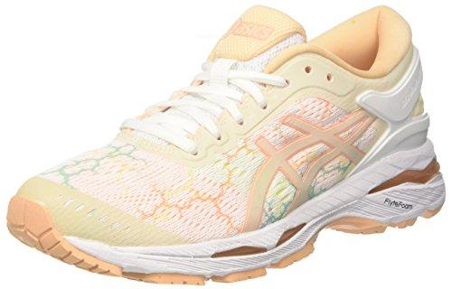 Asics Gel-Kayano 24 Lite-Show, Zapatillas de Running Mujer, Multicolor (Whitewhiteapricot Ice 0101), 35.5 EU