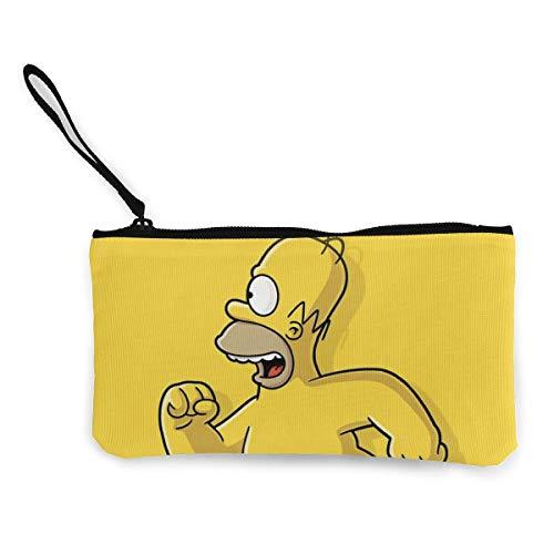 Monedero de lona de dibujos animados Simpsons de viaje de maquillaje lápiz lápiz estuche clip con cremallera bolsa de efectivo para estudiantes mujeres y hombres