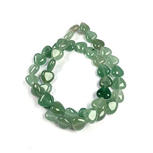 Piedra Natural En Forma De Corazón Ágatas Abalorios Semiacabados Espaciadores Sueltos Abalorios para Hacer Joyas Bricolaje Pulsera Collar Accesorios-Verde Aventurina, 10 X 10 Mm