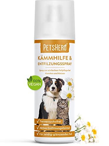 PetsHero® Entfilzungsspray Hunde, Entfilzungsspray Katzen - 200 ml Pflegespray für leicht kämmbares - entfilztes & glänzendes Hunde- & Katzenfell - tierversuchsfrei - hochwertige Inhaltsstoffe