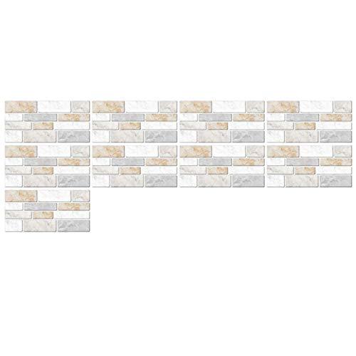SPFOZ Haus Dekoration 9pcs 3D-Stil Wandaufkleber Fliesen Brick Selbstklebende Mosaik Küche Badezimmer-Wand-Dekor Home Office-Dekor-entfernbare Wasserdicht (Color : Grau)