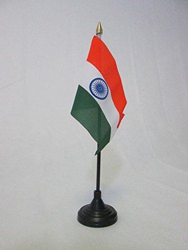 AZ FLAG TISCHFLAGGE Indien 15x10cm goldene splitze - INDISCHE TISCHFAHNE 10 x 15 cm - flaggen