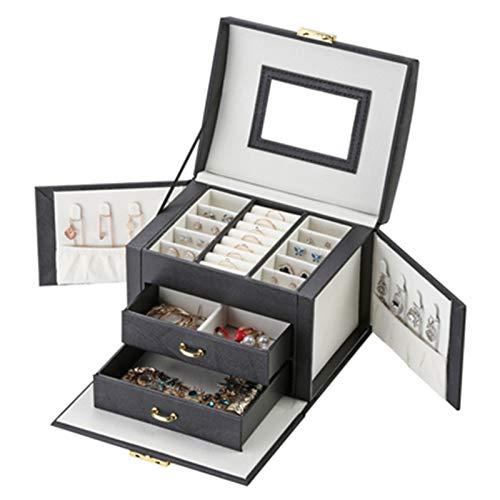 Caja de joyería grande de piel sintética de L, para anillos, collares, joyas, caja de decoración (color: negro actualización)